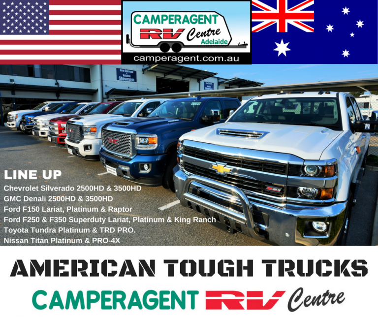 Chevrolet Silverado, GMC Denali, Ford Super Duty, Toyota Tundra And Nissan Titan. American Trucks Camperagent RV Centre